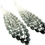 Lace Earrings Hand Dyed - Black Gre..
