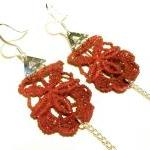 Lace Earrings Hand Dyed - Red Flowe..