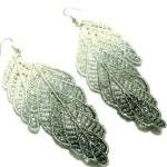 Leaf Lace Earrings Hand Dyed - Grey..