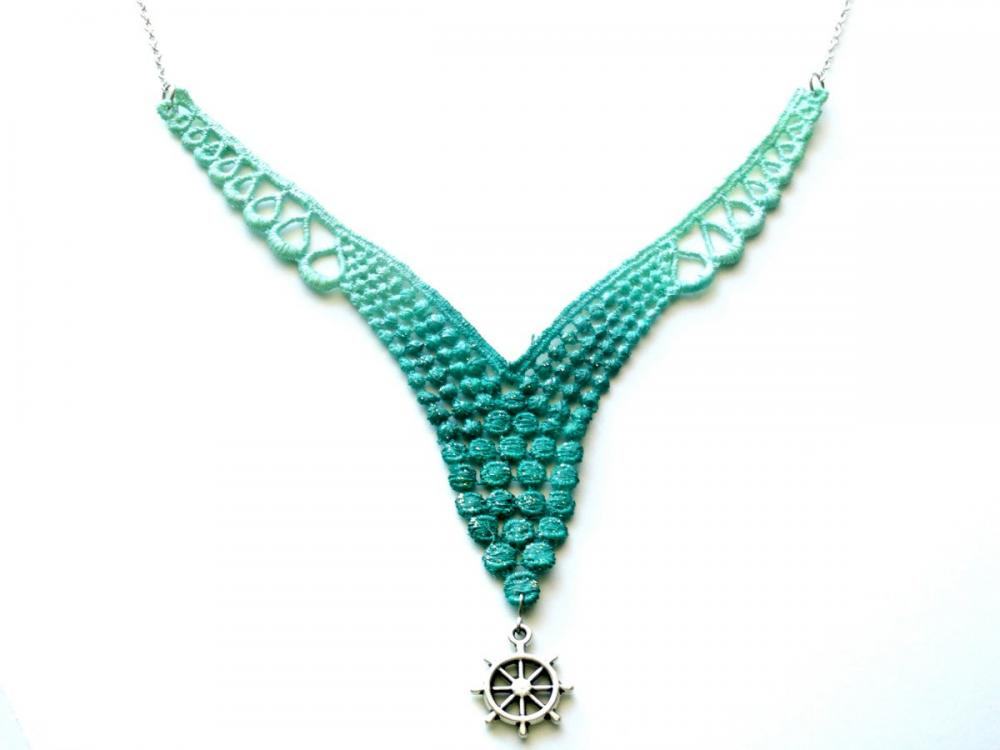 Lace Necklace Hand Dyed - Mint Green and Teal - Customizable Colors with Silver Nautical Ship Wheel - Lace Fashion