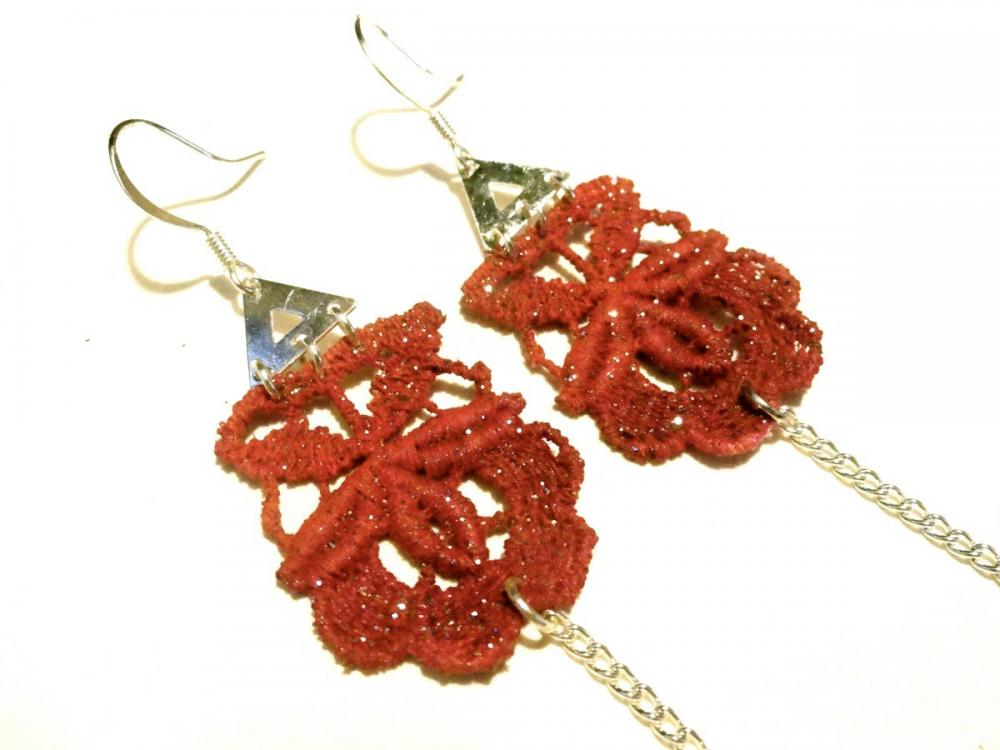 Lace Earrings Hand Dyed - Red Flower With Black Glass Beads - Customizable Colors