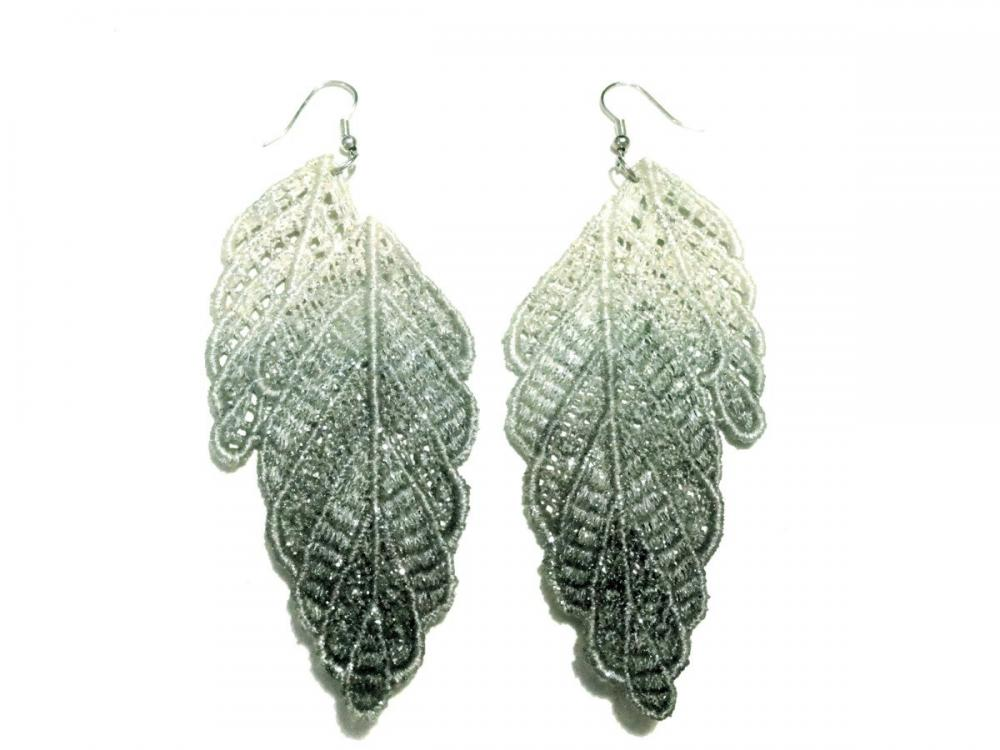 Leaf Lace Earrings Hand Dyed - Grey and White with Glitter - Customizable Colors - Lace Fashion