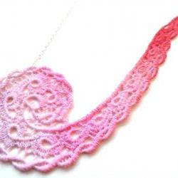 Lace Necklace Hand Dyed in Pink and Red with Silver Plated Chain - Valentine's Day - Customizable Colors )-( DANIELLE )-(