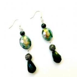 Beaded Earrings in Teal Silver and Black